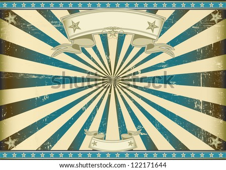Sunbeam blue retro background. A vintage horizontal poster with a blue sunbeam for you.  Perfect size for a screen.