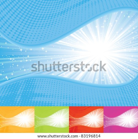 Sunbeam wavy background. EPS 8 CMYK with global colors vector illustration.
