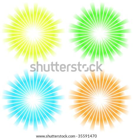 Sunburst abstract vector. Vector set.