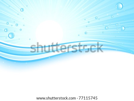 Sunburst background with drops, illustration