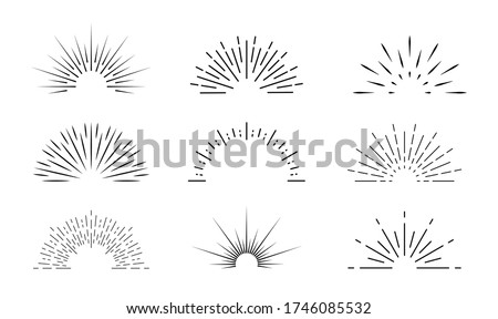 Sunburst icon. Sun burst with lines. Retro logo of half circle with radial rays. Graphic burst of sunshine light. Starburst with sunrise. Vintage elements and sparks for abstract design. Vector. Сток-фото ©