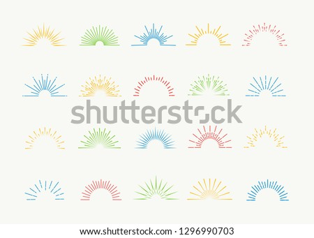 Sunburst icons vector set colorful style isolated on white background for logotype, tag, stamp, t shirt, banner, emblem. 10 eps