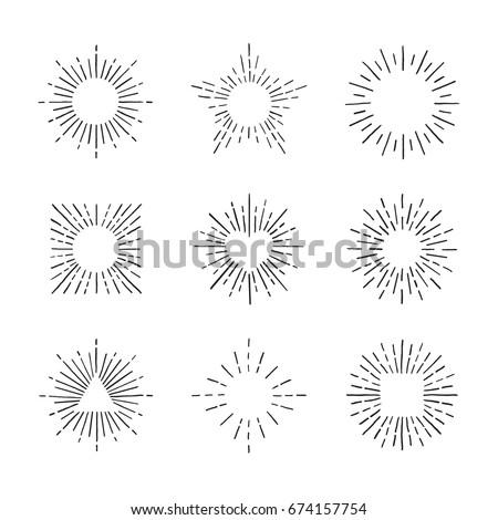 sunburst ink hand drawn vector