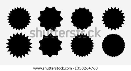 Sunburst label icons. Promo sale starburst sticker. Vector set of black star price tag. Vector illustration EPS10  #1358264768