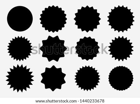 Sunburst label icons. Promo sale starburst sticker. Vector set of black star price tag. Vector illustration EPS10  #1440233678