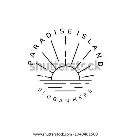 sunburst paradise island line art minimalist icon logo vector template illustration design Photo stock ©