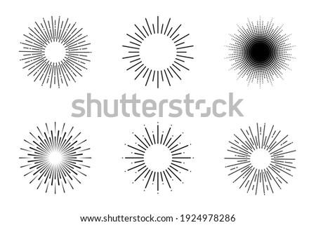 Sunburst. Rays. Sunburst vector icons. Rays in simple retro design. Sun rays. Vector illustration