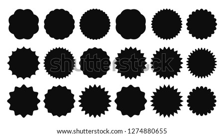 Sunburst sticker. Vintage sale stickers, burst rays promo button and sun bursts price. Starburst black jagged promo label buttons or advertising badge isolated vector shapes icons set