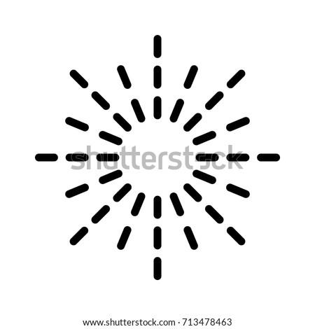 Sunburst / sun burst or sunlight line art vector icon for apps and websites