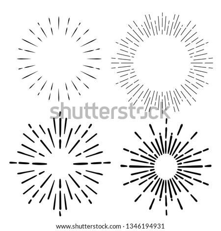 sunburst. Sunrise firework sunset blast sunbeam abstract burst emblem sun ray shape explosion bursting vintage vector set