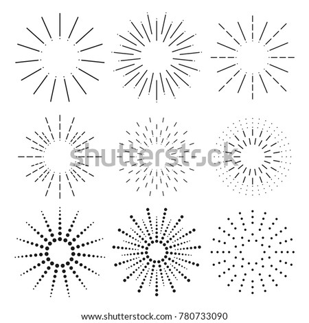 Sunbursts set vector. Sunbursts ink hand drawn sunshine shapes. Sunbursts collections.