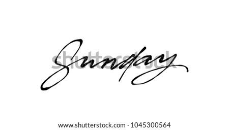 sunday handwriting vector ink