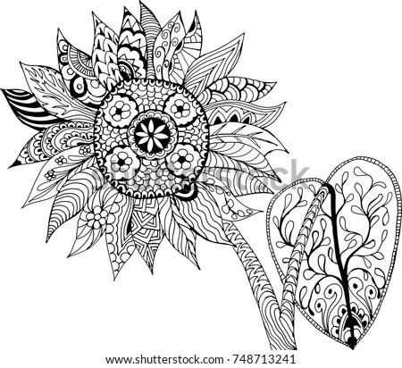 sunflower hand drawn patterns