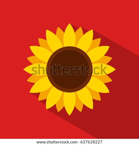 sunflower icon in flat style