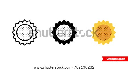sunflower icon of 3 types