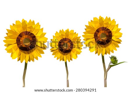 sunflower low poly concept