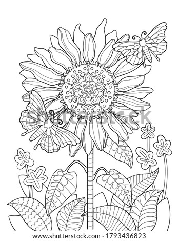 Sunflower mandala coloring page for adults. Flower coloring book with butterflies. Stock photo ©