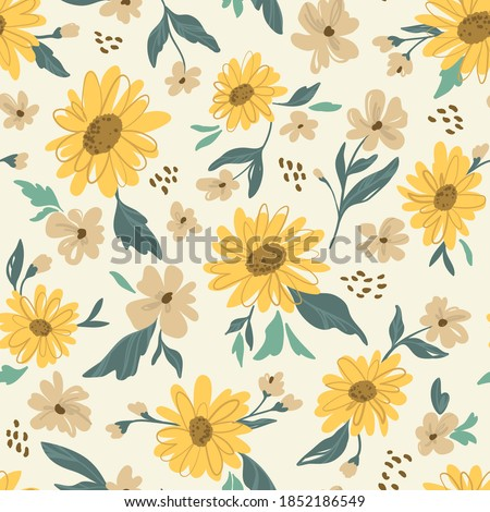 Sunflower seamless pattern. Yellow daisy on off white background. Perfect ornament for fashion fabric or other printable covers.