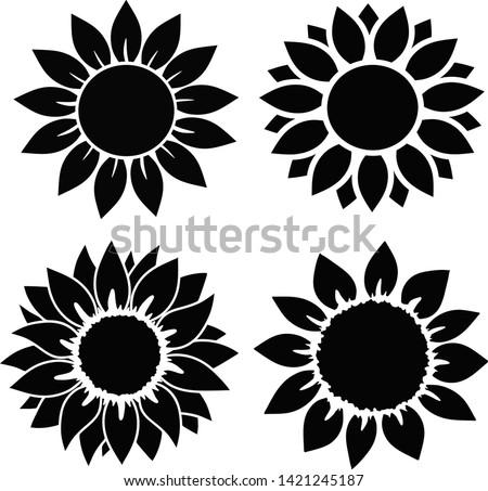 sunflower set  isolated  for