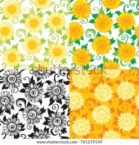 sunflowers backgrounds vector