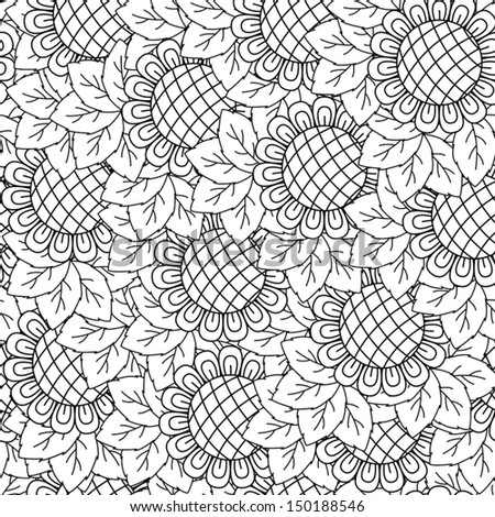 Black And White Drawings of Sunflowers Sunflowers Black And White