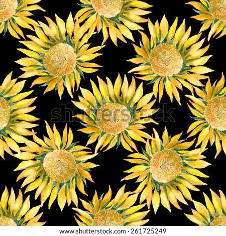 sunflowers vector pattern