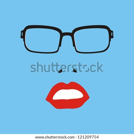 Sunglasses and lips. Vector