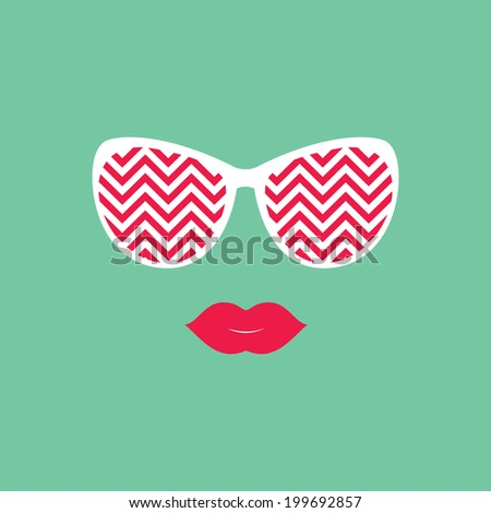 Sunglasses and lips Vector illustration Hipster theme Print for your T-shirts Great idea for design Woman's face