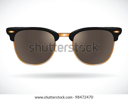 Sunglasses (clubmaster black/gold isolated)- vector illustration Shadow and background on separate layers. Easy editing.