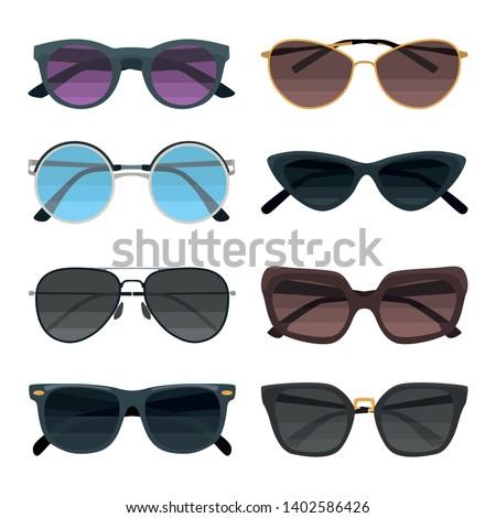 sunglasses color flat icons set