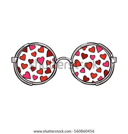 Sunglasses. Hearts. Isolated vector objects on white background.