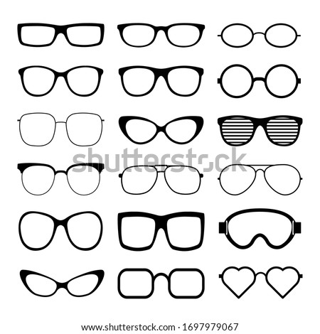 Sunglasses icon set vector template. Transparent sunglass, mens and women glasses silhouette. Vector illustration.