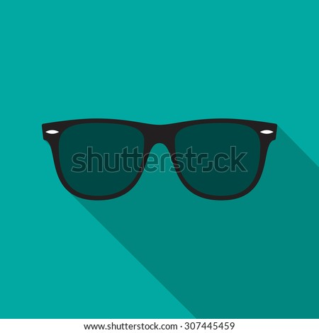 Shutterstock Sunglasses icon with long shadow. Flat design style. Sunglasses silhouette. Simple icon. Modern flat icon in stylish colors. Web site page and mobile app design element.