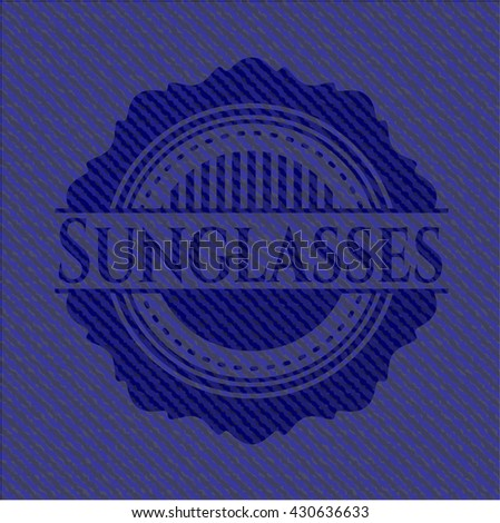Sunglasses jean or denim emblem or badge background