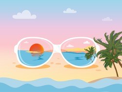 Sunglasses reflection of Tropical seascape blue ocean and coconut tree with pink sky, The glasses and sea beach, Vector illustration of landscape seaside for Summer holidays, Hello summer background