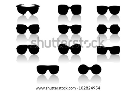Sunglasses set isolated on white, vector