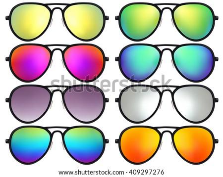 Sunglasses set. Trendy sunglasses colors. Summer eyeglasses. Fashion collection. Summer vacation item. Sunglasses for tropical trip. Boho style sunglasses. Vector illustration.