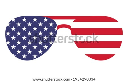 Sunglasses shape USA flag - Independence Day USA with motivational text. Good for T-shirts, Happy july 4th. Independence Day USA holiday. United States of America. LOVE the usa. Eyewear. Сток-фото ©