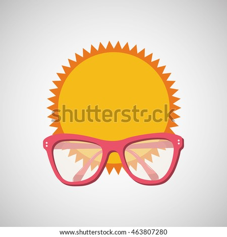 sunglasses, vacation on beach icon, vector illustration