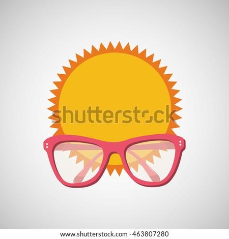 sunglasses, vacation on beach icon, vector illustration