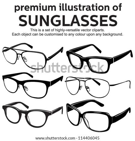 sunglasses vintage style clipart