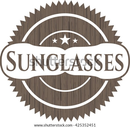 Sunglasses vintage wooden emblem