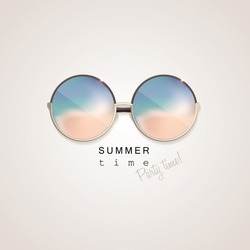 Sunglasses with abstract gradient glass mirrors reflecting beach coast isolated on light background with summer time, party time lettering typography. Top view perspective