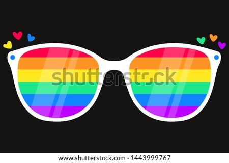 Sunglasses with LGBT rainbow lenses. Rainbow, LGBT pride, gay,human rights, glasses concept. Gay Pride Month. Pride LGBTQ icon