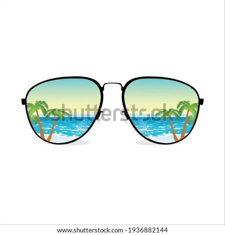 Sunglasses with summer beach Vector Illustration Stockfoto ©
