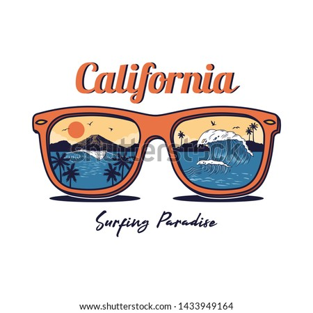 Sunglasses with summer ocean sea beach surfing paradise view wave palm sunset mountain. California Vintage fashion trendy illustration surfing vacation style clothes print design. t shirt sticker badge.
