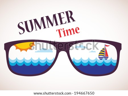 sunglasses with summer view of ocean, sea and boat