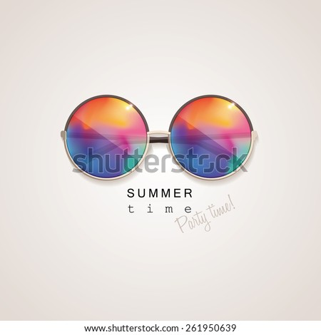 sunglasses with vivid multicolored abstract gradient mesh glass mirrors isolated on light background with summer time, party time lettering typography