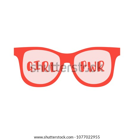 Sunglasses with words girl boss on a white background. Fashion Modern Stylish Black woman Glasses. Vector illustration isolated on white background