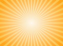 Sunlight abstract background. Bright yellow color burst background. Vector illustration. Sun beam ray sunburst pattern background. Retro bright backdrop. starburst wallpaper